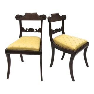 1830s English Regency Carved Side Chairs- a Pair For Sale