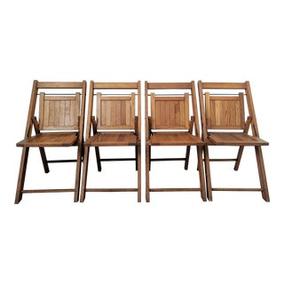 Mid-Century Oak Children's Folding Chairs - Set of 4 For Sale