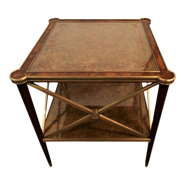 Hollywood Regency Bronze Decorated End Table X-Base Sides Tortoise Glass Top For Sale