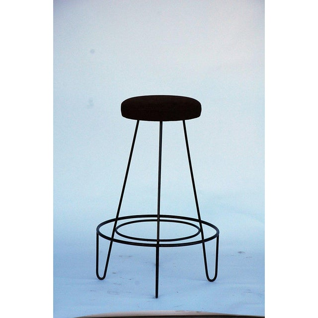 Mid-Century Modern 1950s Minimalistic Bar Stools With Brown Suede Seats - a Pair For Sale - Image 3 of 5