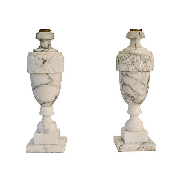 Neoclassical Neoclassical Carved Marble Lamps - A Pair For Sale - Image 3 of 8