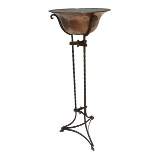 1920s Antique Wrought Iron Plant Stand & Copper Bowl For Sale