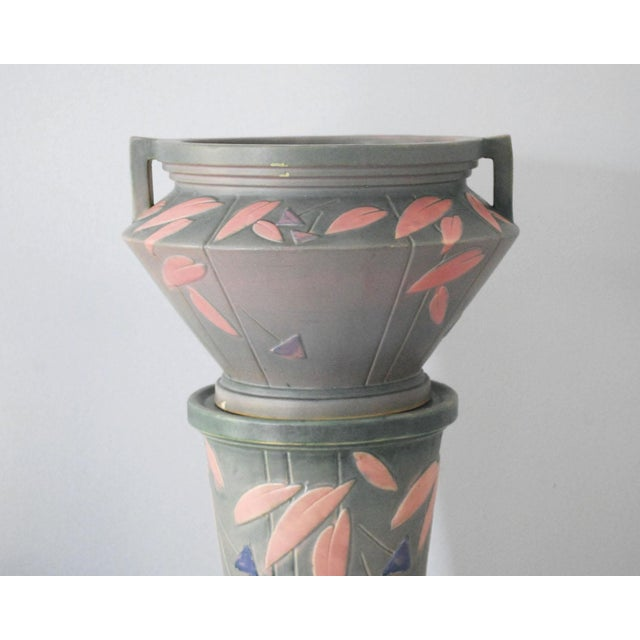Art Deco 1920s Shabby Chic Roseville Pottery Futura Jardeniere and Pedestal For Sale - Image 3 of 13
