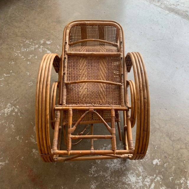 Woven Cane Lounge Chair with Pull Out Foot Rest For Sale - Image 11 of 13