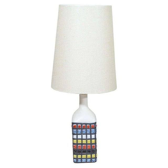 Ceramic lamp by roger capron with hand-painted mosaic tiles.