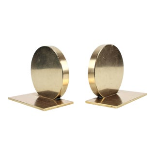 Modern Brass Disc Bookends - a Pair For Sale