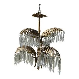 Early 20th Century French Bronze and Crystal Palm Chandelier For Sale