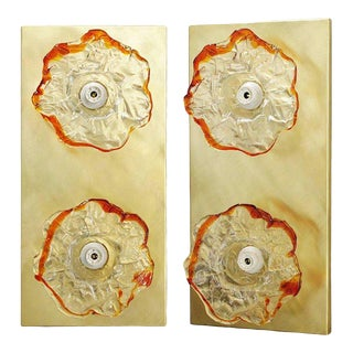 Italian Murano Glass Flower Sconces / Flush Mounts by Mazzega - a Pair For Sale