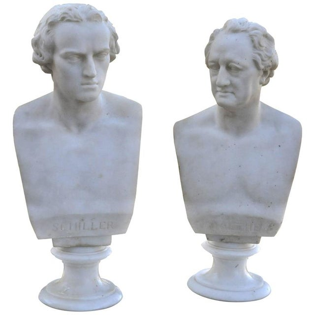 Pair of Mid-19th Century Marble Busts of Schiller and Goethe For Sale In Boston - Image 6 of 6