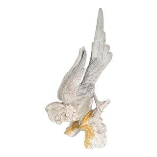White Glazed Italian Terra-Cotta Parrot For Sale