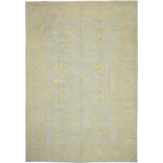 Contemporary Turkish Oushak Rug With Beach House Style - 12'06 X 18'00 For Sale