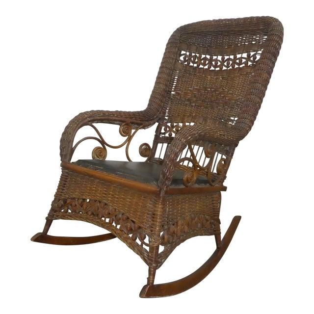 Victorian Heywood Wakefield Wicker Rocking Chair For Sale