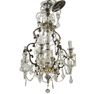 French 19th Century Four-Light Crystal Chandelier with Glass Arms For Sale