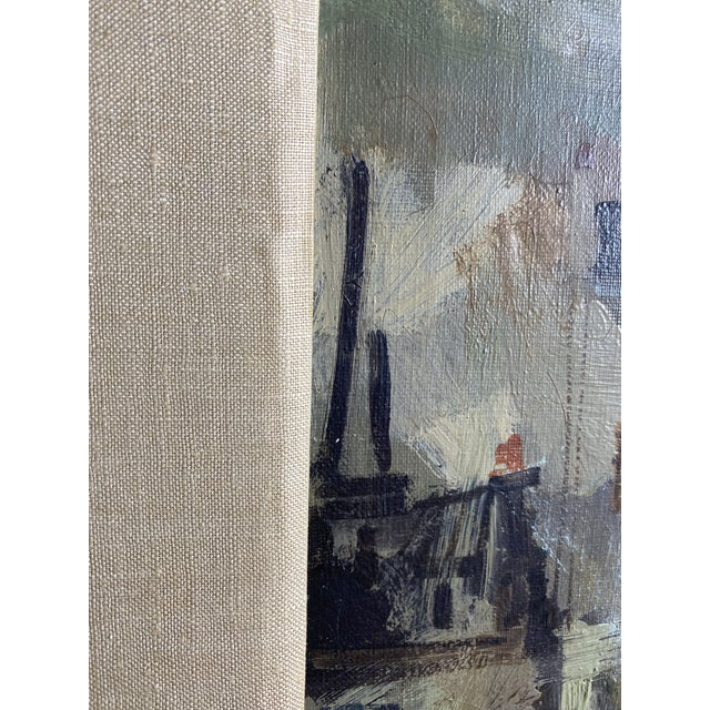 Mid 20th Century French Brutalist Style Oil Painting, Framed For Sale - Image 4 of 7