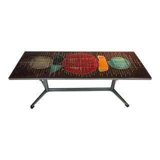 Colorful Abstract Design Italian Tile Coffee Table For Sale