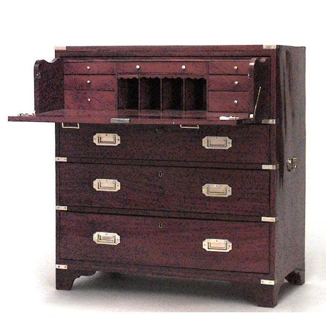 Traditional English Victorian Campaign Style Secrétaire Chest For Sale - Image 3 of 3