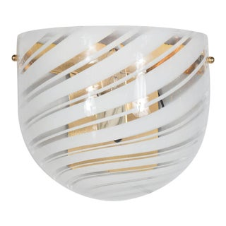 Handblown Mid-Century Modern White and Clear Swirl Murano Glass Wall Sconce For Sale