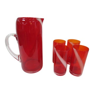 Vintage 1960s Mid-Century Modern Murano Red Glass Pitcher and Tumblers Set - 6 Piece Set For Sale