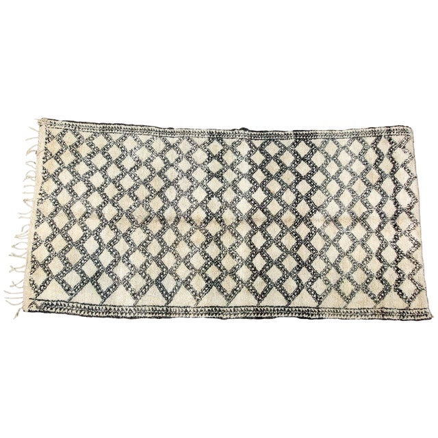 Vintage Moroccan Beni Ouarain Shaggy Tribal Rug North Africa For Sale