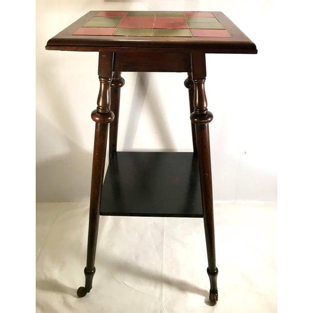 Antique Tile Top Pub Table For Sale - Image 4 of 11