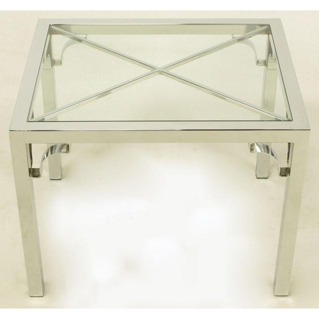 Chrome Parsons Style Chinese Chippendale X-Top End Table - Image 3 of 7