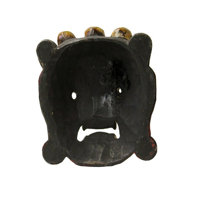 1990s Hand Craved Vintage Tibetan Traditional Ceremony Solid Wood Mask For Sale - Image 5 of 6