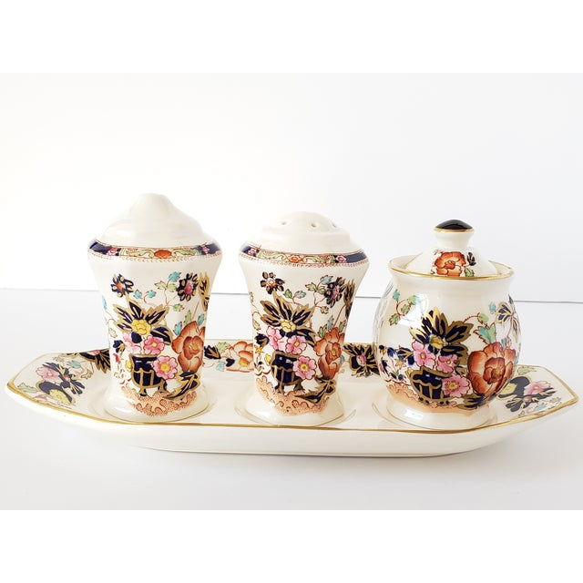 "Vintage 1930's Mason's Ironstone handpainted ""Mandarin"" pattern condiments dishes, including 2 salt & pepper shakers and a..."