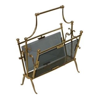 Magazine Holder Brass & Smoked Glass 1960s by Maison Bagues For Sale