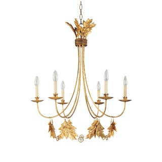 Gilded Gold 'Sweet Olive' 6 Lt Chandelier For Sale