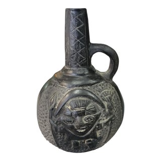 2nd Quarter 20th Century Peruvian Pre-Columbian Style Chimu Pottery Blackware Vessel For Sale