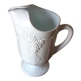 Vintage Footed Milk Glass Pitcher
