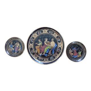 Greek Mythology Classic Scenes 24k Gold Trim Plates - Set of 3 For Sale