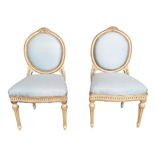 Louis XVI French Style Side Chairs Painted For Sale