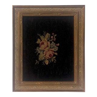 Vintage Needlepoint Roses Textile Art For Sale