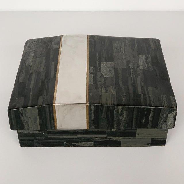 Karl Springer Karl Springer Tessellated Stone, Chrome and Brass Box For Sale - Image 4 of 13