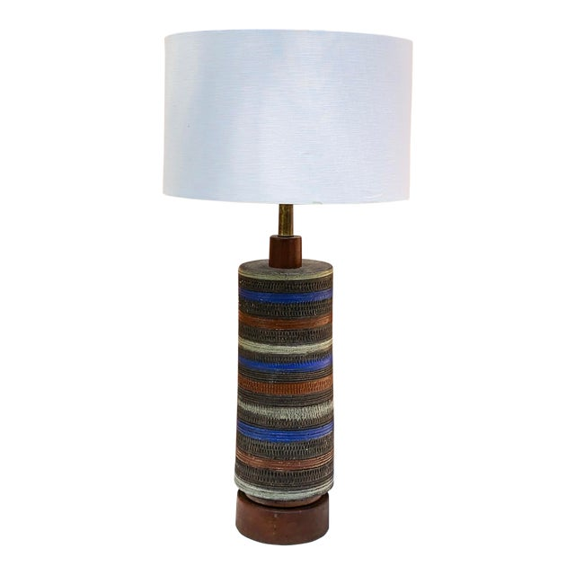C. 1950 Italy Aldo Londi for Raymor Multicolor Ceramic Lamp For Sale