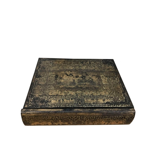 19th Century 19th Century Chinoiserie Black Lacquer Box in the Form of a Book For Sale - Image 5 of 5