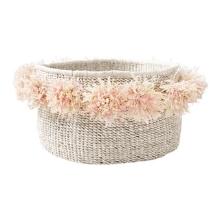 Pom Pom Banana Leaf Floor Basket