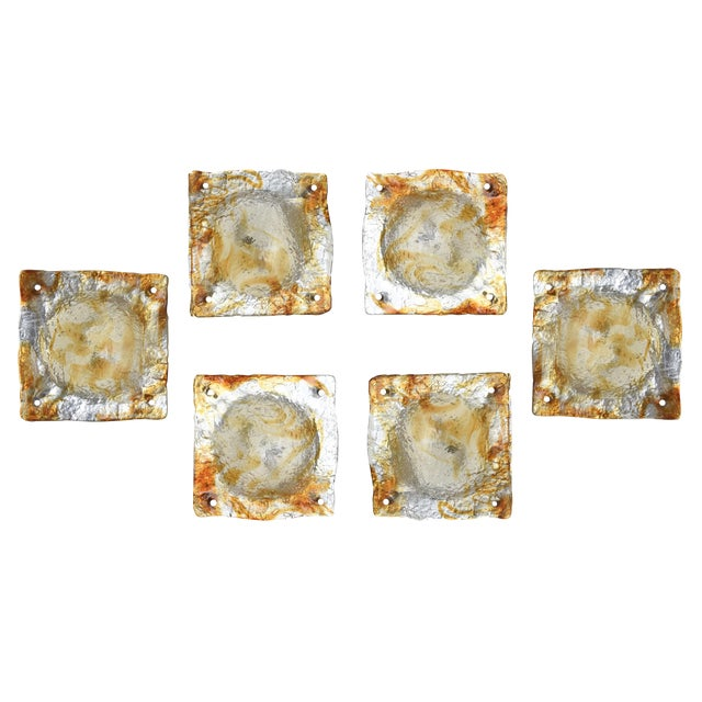 Set of 6 Italian Murano Mazzega Sculptural Glass Wall Sconces For Sale