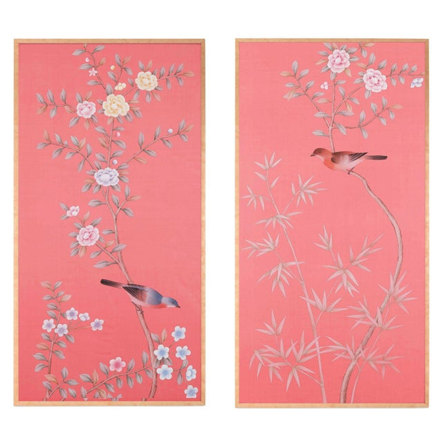 """2010s Jardins en Fleur Out of Production """"Luton House"""" Chinoiserie Hand-Painted Silk Diptych by Simon Paul Scott – 2 Pieces For Sale - Image 5 of 5"""