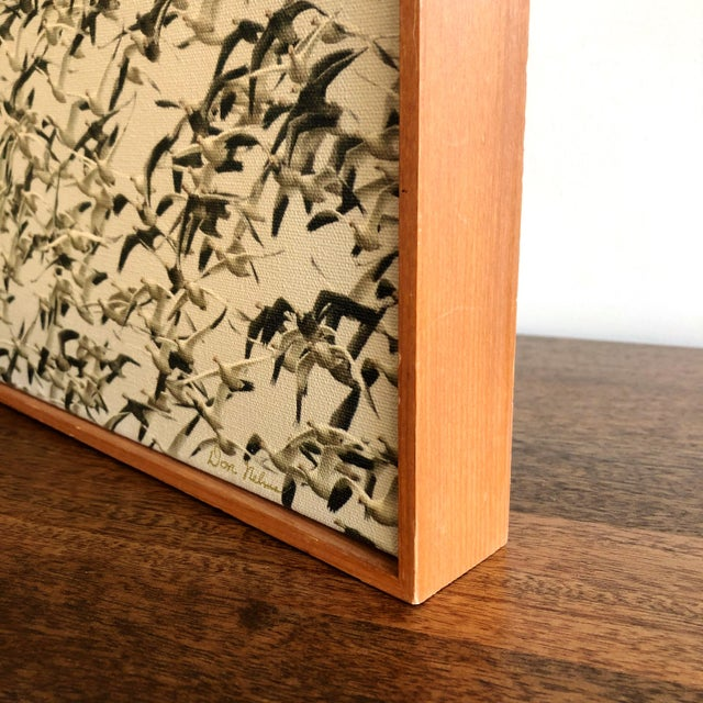Modern Mid-Century Framed Sepia Photograph of Flying Geese on Canvas For Sale - Image 3 of 6