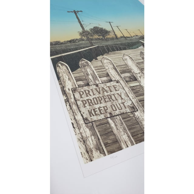 """Martin Levine (American, 20th C.) """"Private Property"""" Limited Edition Color Lithograph C.1982 For Sale - Image 9 of 11"""