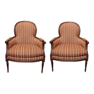 Late 20th Century Vintage Carved Walnut Bergere Chairs- A Pair For Sale