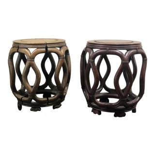 1960s Hong Kong Carved Art Garden Stools - a Pair For Sale
