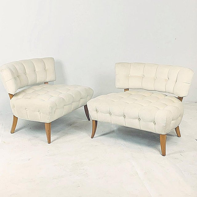 """William """" Billy """" Haines Wiliam """"Billy"""" Haines Large Scale Regency Tufted Klismos Lounge Slipper Chairs - a Pair For Sale - Image 4 of 13"""