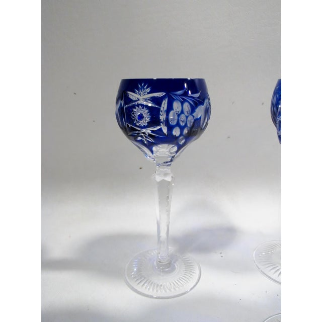1960s Nachtmann Traube Cobalt Blue Cut Clear Hock Wine Goblets - Set of 9 For Sale - Image 5 of 11