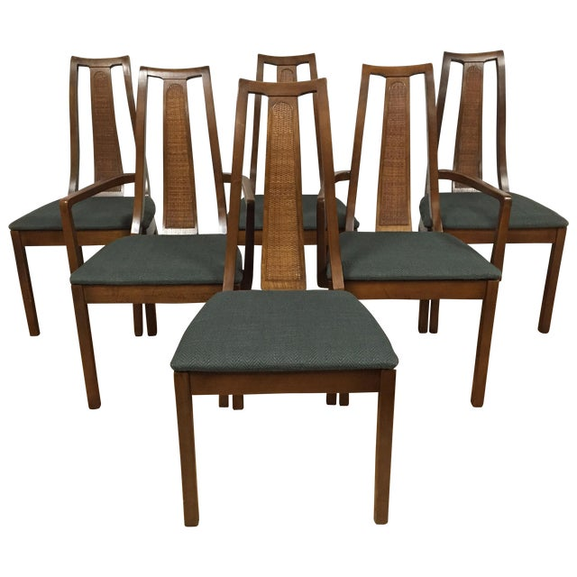 Set Of 6 Dining Chairs: Mid-Century Cane Back Dining Chairs - Set Of 6