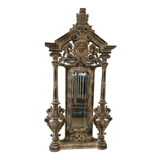 Detailed Carvings and Cherub Crown Center Pier Mirror For Sale