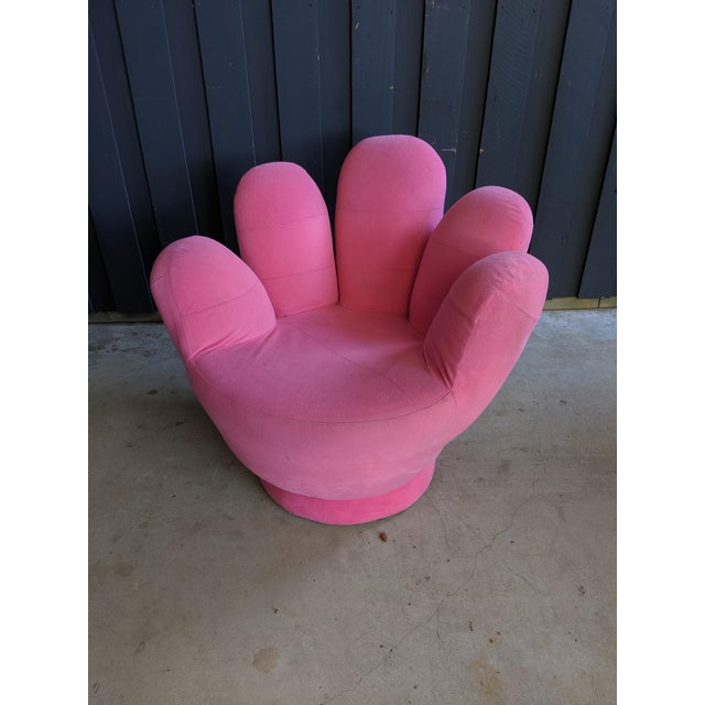 Boho Chic Boho Chic Pink Hand Shaped Swivel Lounge Chair For Sale - Image 3 of 11