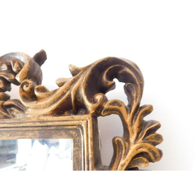 1980s Vintage Baroque Style Gold Leaf Beveled Wall Mirror For Sale - Image 5 of 11